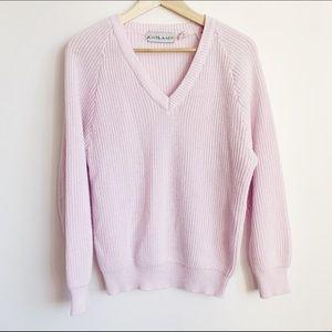 vintage 80s light pastel lilac v-neck knit sweater